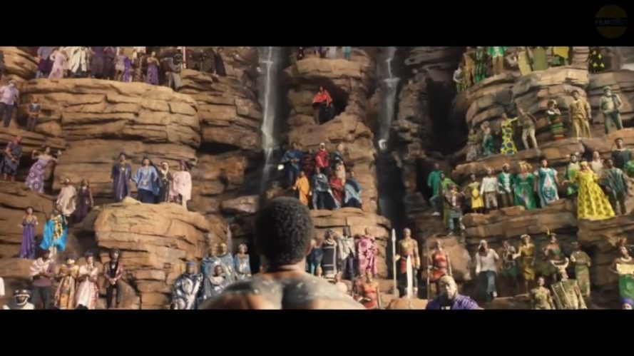 black panther fountain scene
